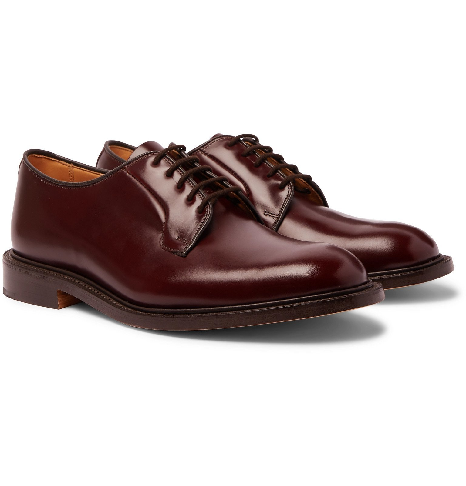 Photo: Tricker's - Robert Polished-Leather Derby Shoes - Burgundy