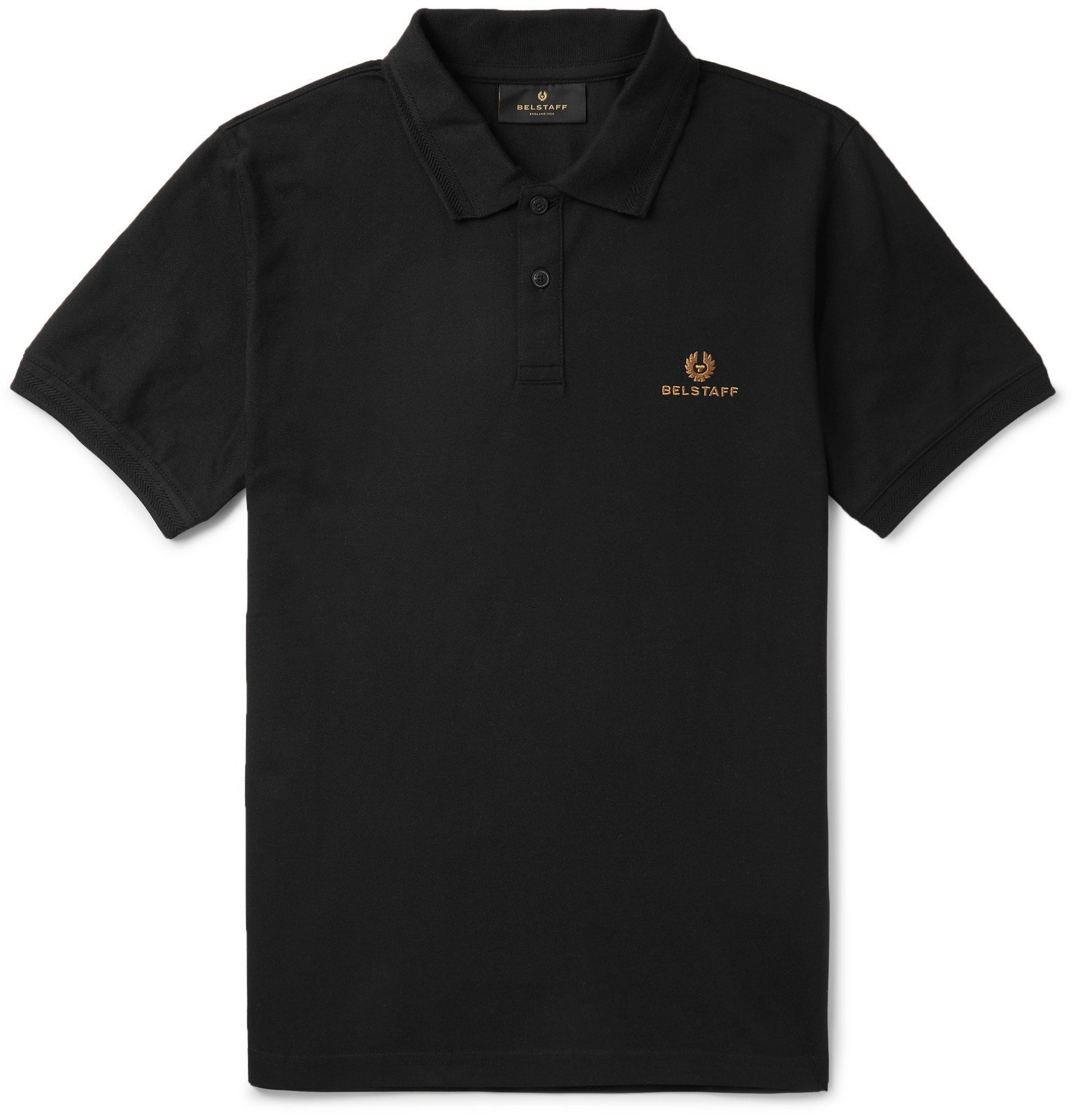 Photo: Belstaff - Slim-Fit Logo-Embroidered Cotton-Piqué Polo Shirt - Black