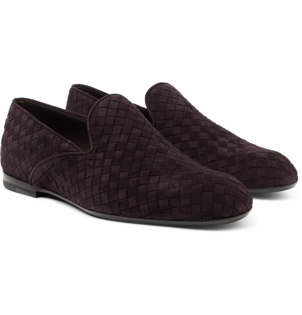 Bottega Veneta - Intrecciato Suede Slippers - Brown
