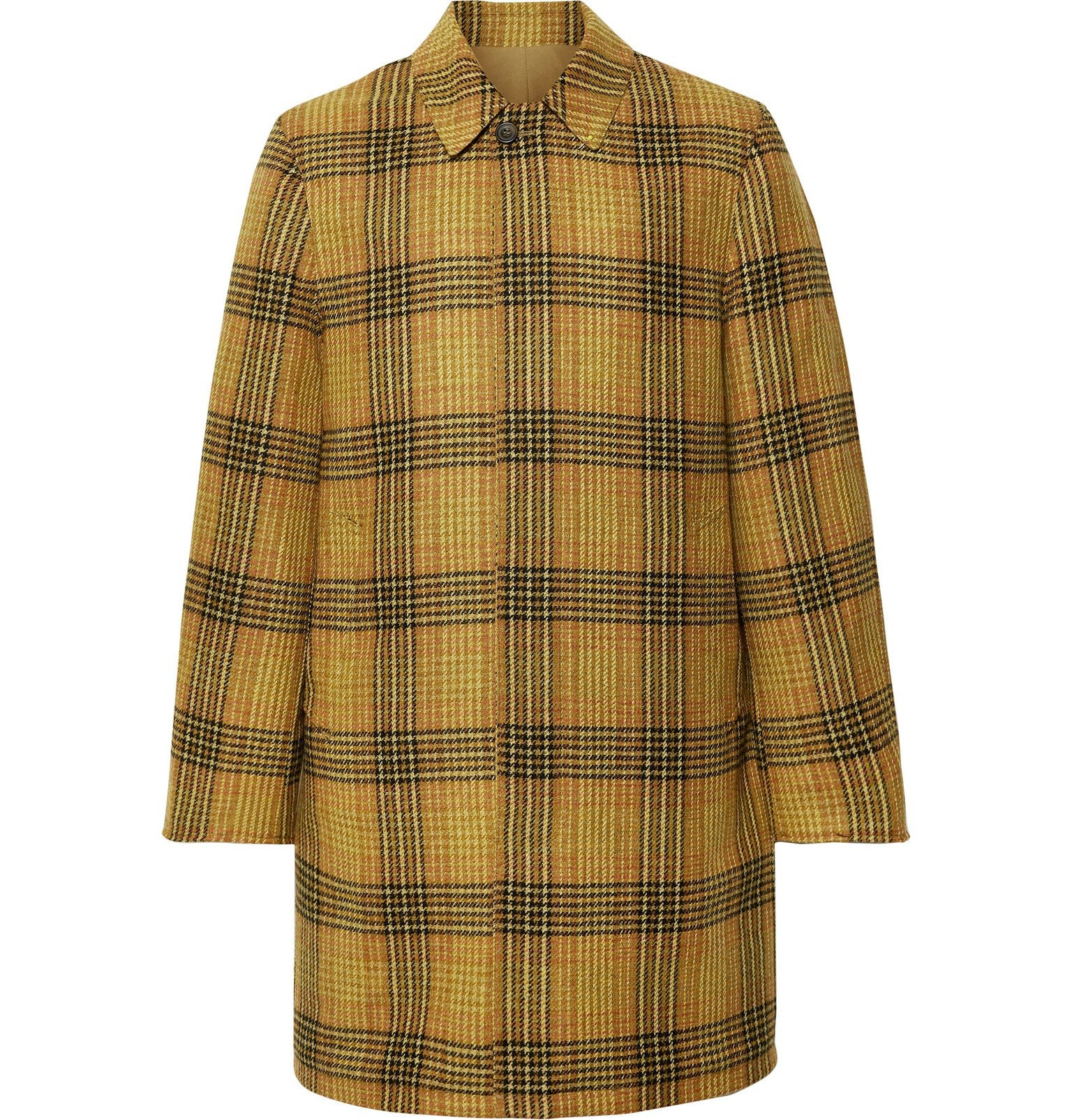 Photo: The Workers Club - Reversible Checked Wool and Cotton-Twill Coat - Brown