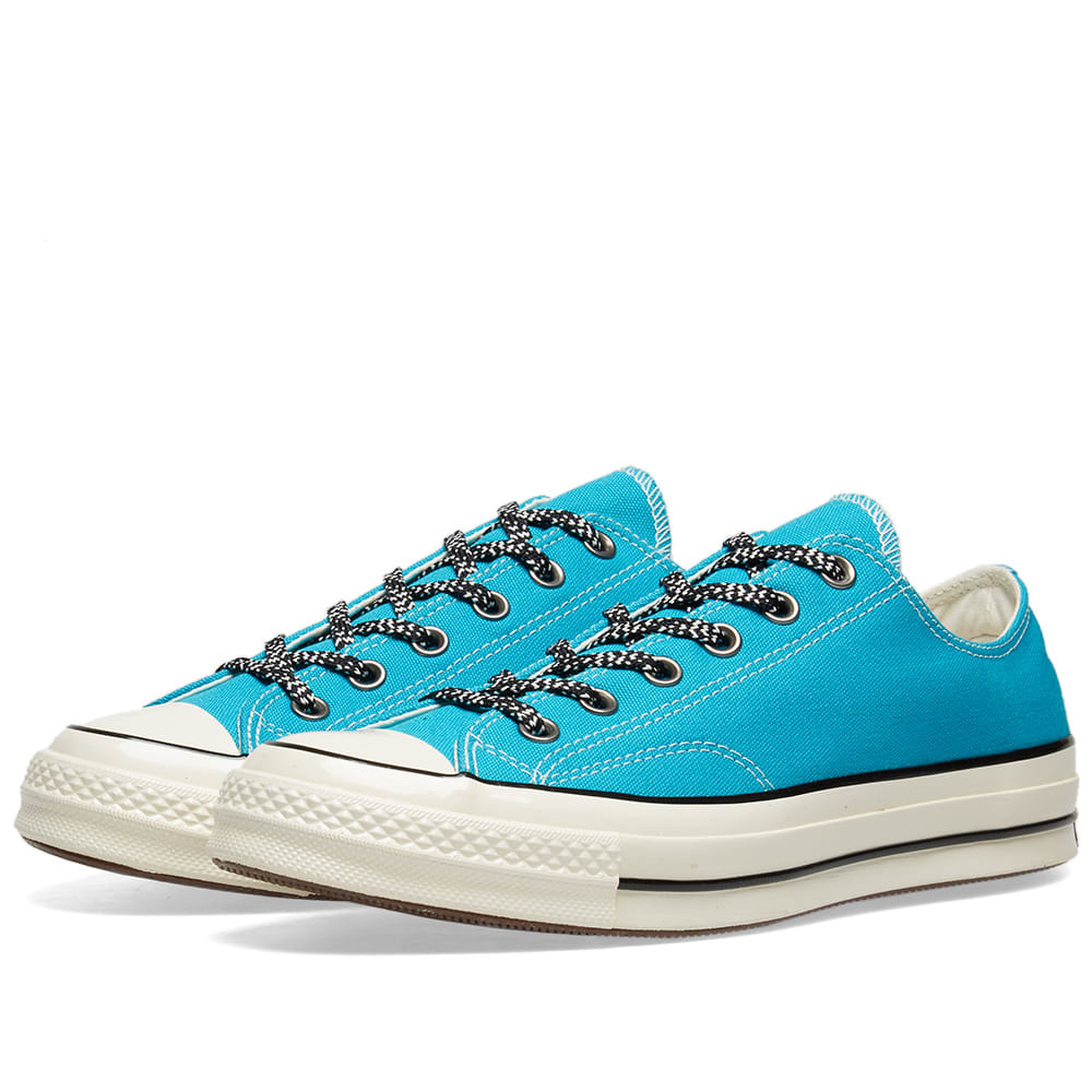 Photo: Converse Chuck Taylor 1970s Ox Vintage Canvas Mountaineering Rapid Teal, Black & Egret