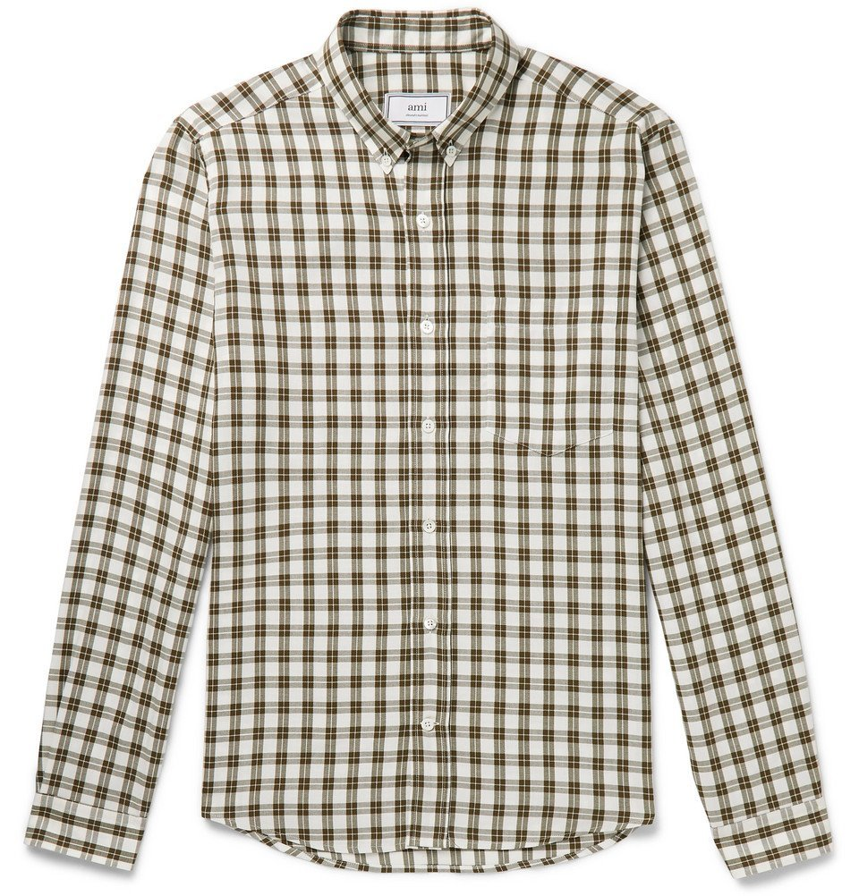 Photo: AMI - Slim-Fit Button-Down Collar Checked Woven Shirt - Green