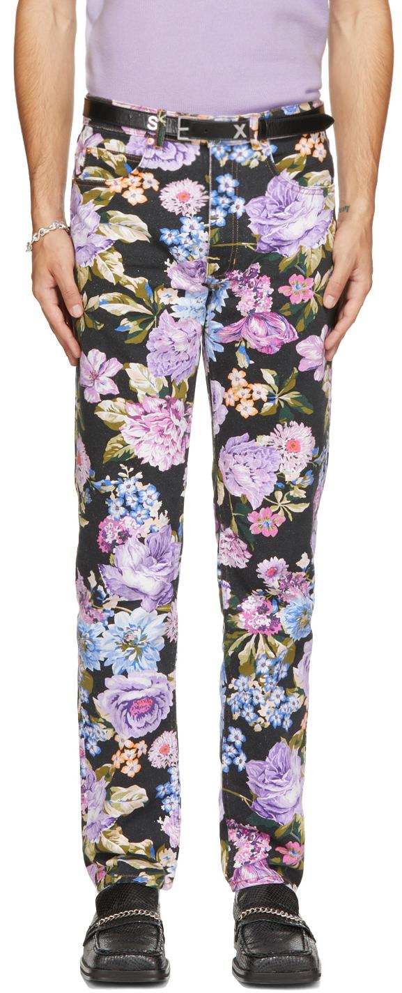 Photo: Martine Rose Black & Multicolor Floral Ronnie Jeans