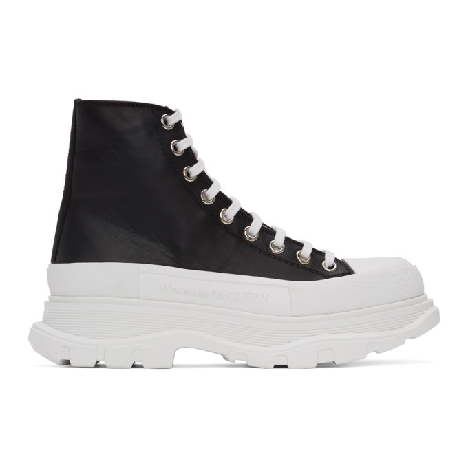 Photo: Alexander McQueen Black and White Leather Tread Slick Boots