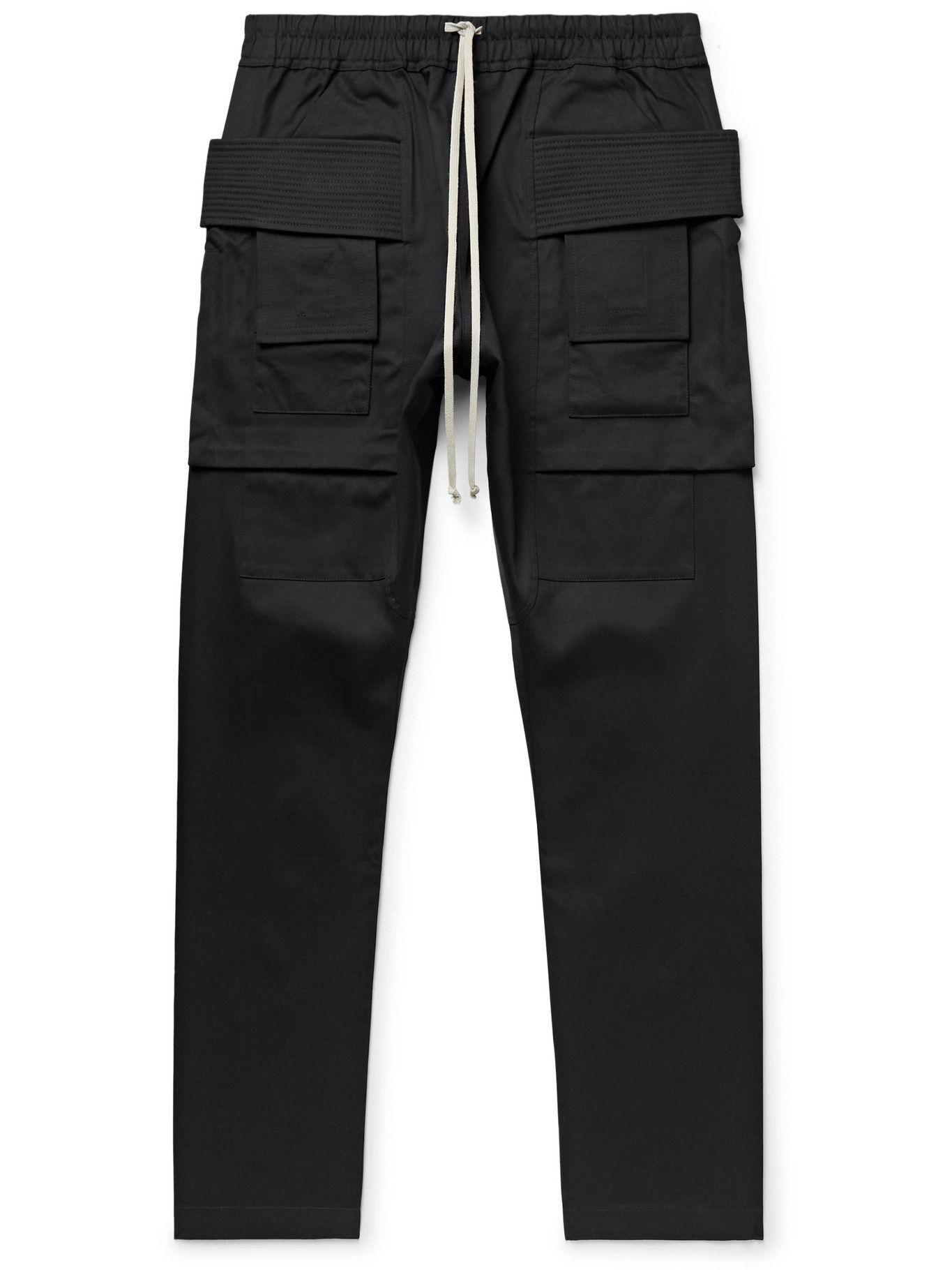 Photo: Rick Owens - Gethsemane Creatch Cotton-Twill Drawstring Cargo Trousers - Black