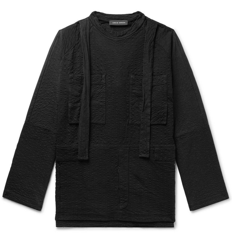 Photo: Craig Green - Oversized Strap-Detailed Textured Cotton-Jersey Sweatshirt - Black
