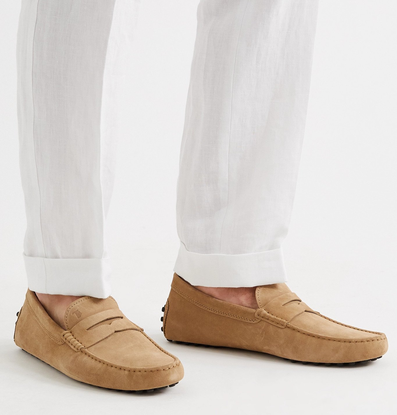Tod's - Gommino Suede Driving Shoes - Neutrals