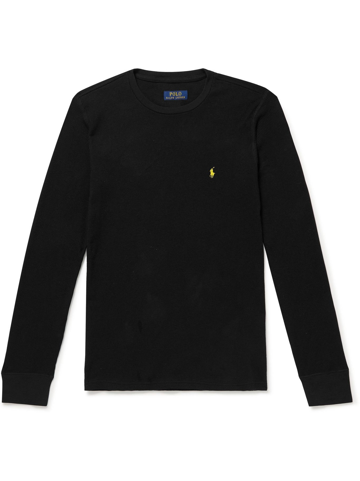Photo: Polo Ralph Lauren - Slim-Fit Logo-Embroidered Waffle Cotton-Blend T-Shirt - Black