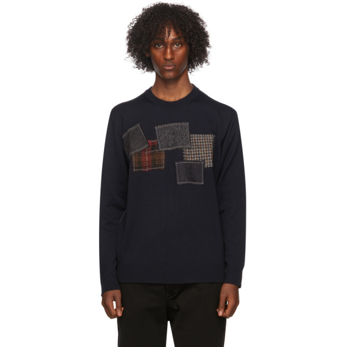 Photo: Junya Watanabe Navy Wool Patchwork Sweater