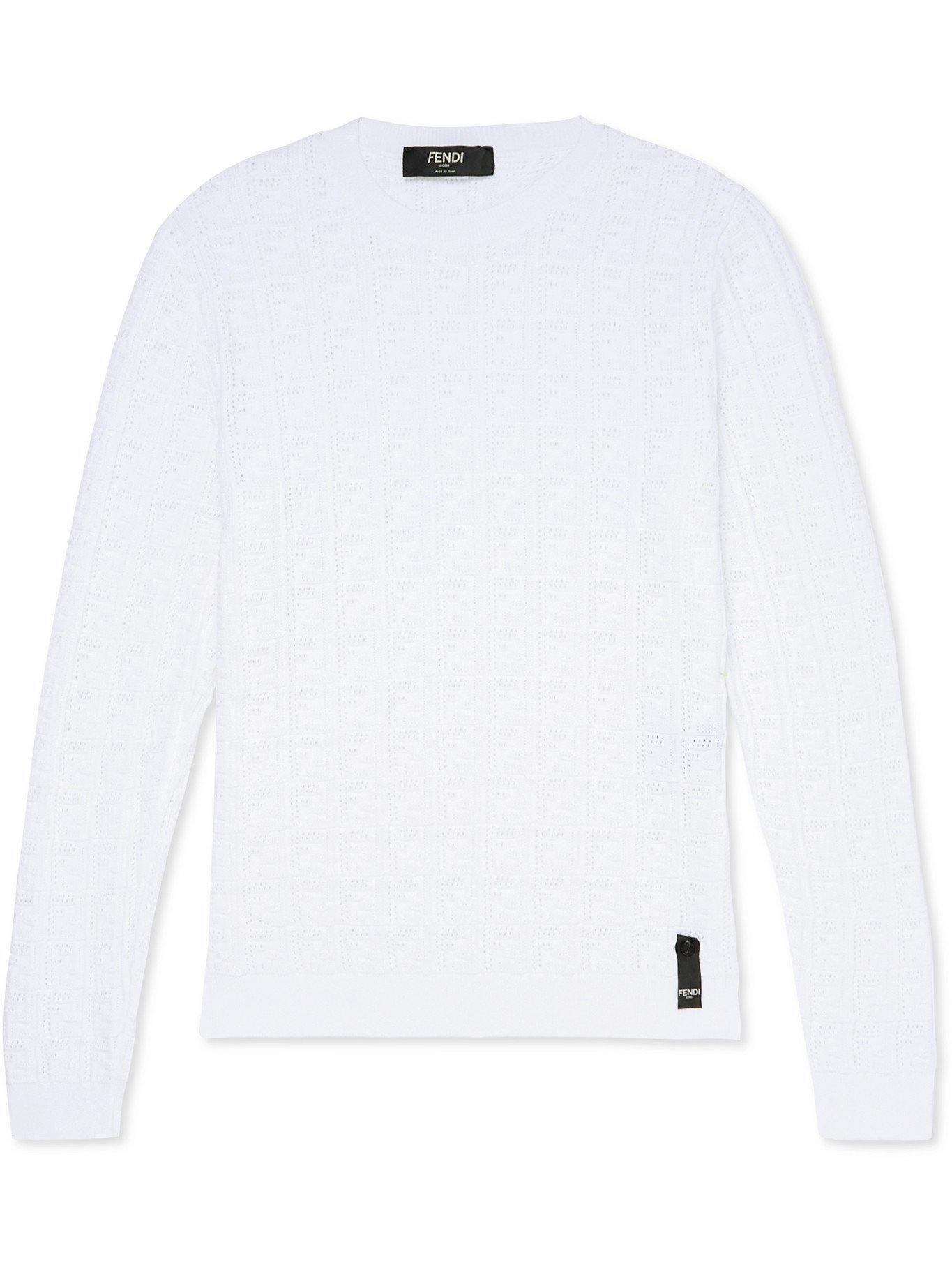 Photo: FENDI - Slim-Fit Monogram-Knit Sweater - White