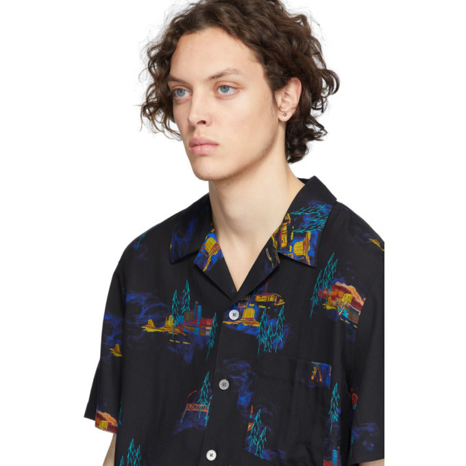 PS by Paul Smith Black Lyocell Cosmic Camp Shirt