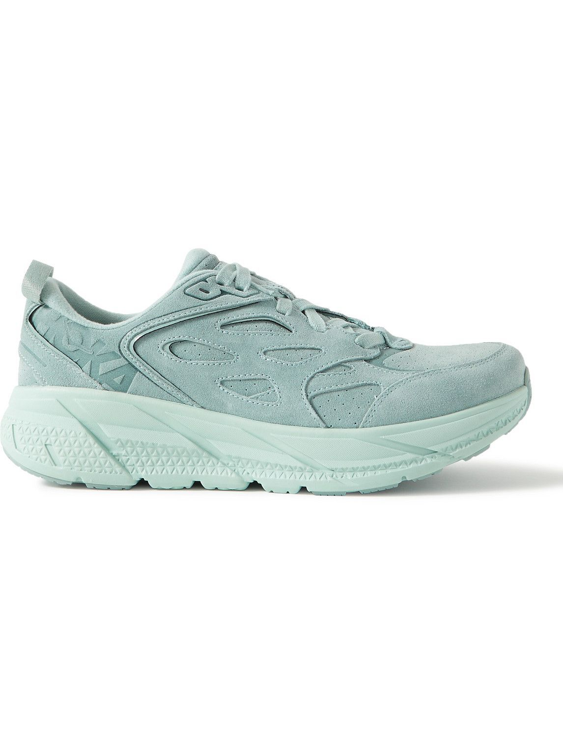 Photo: Hoka One One - Clifton L Suede Running Sneakers - Green