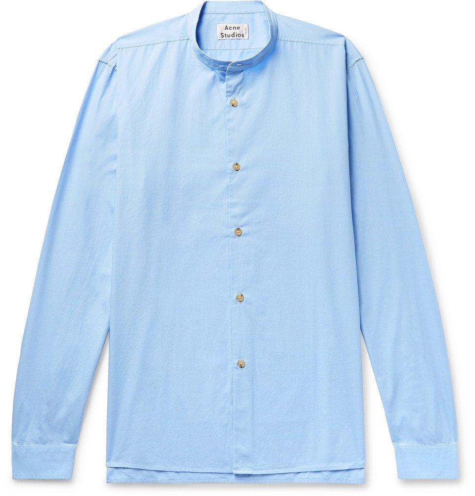 Acne Studios - Pine Grandad-Collar Cotton-Poplin Shirt - Men - Light blue