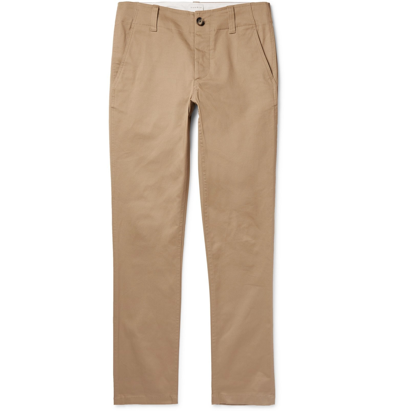 Photo: Sandro - Tapered Cotton-Twill Chinos - Neutrals