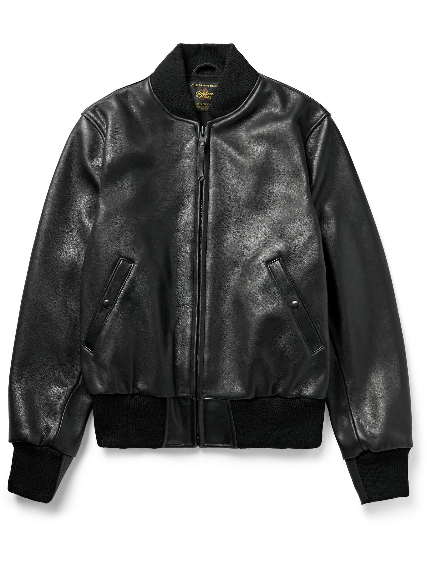 Photo: GOLDEN BEAR - Leather Bomber Jacket - Black - XS