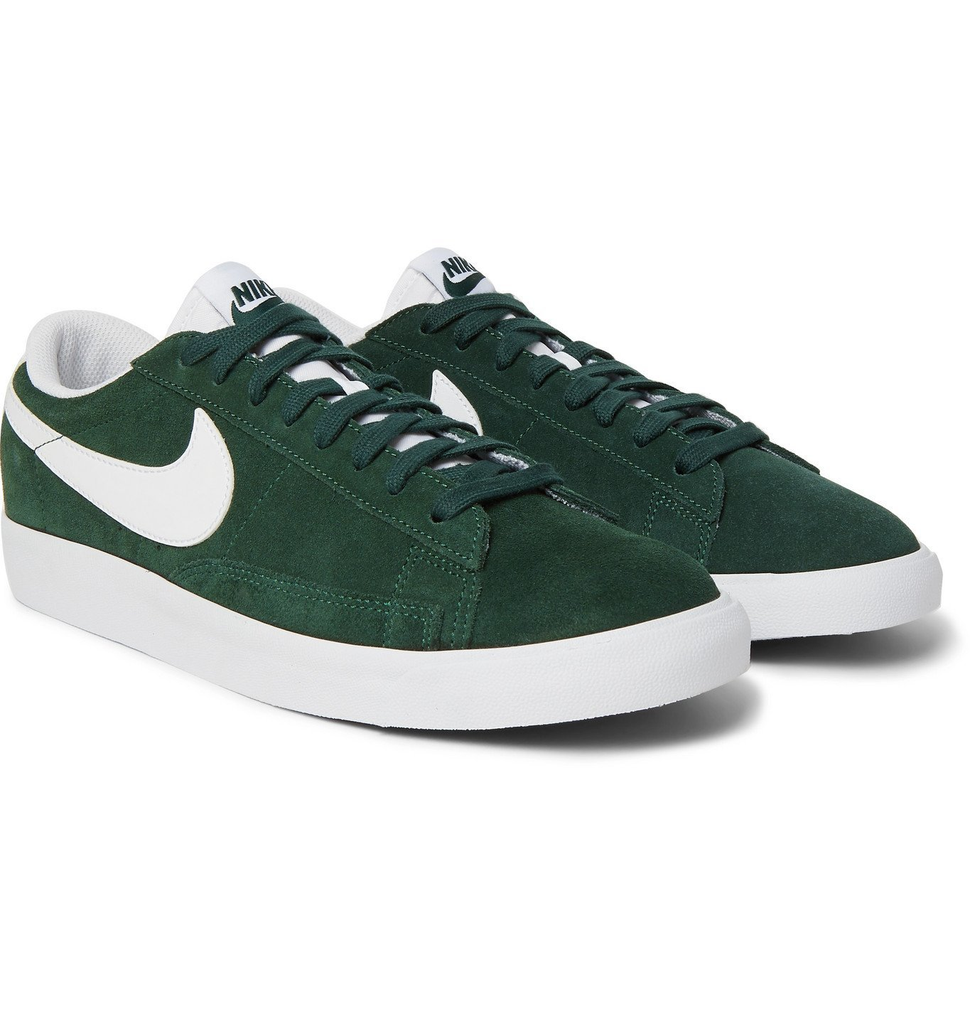 Photo: NIKE - Blazer Low Leather-Trimmed Suede Sneakers - Green