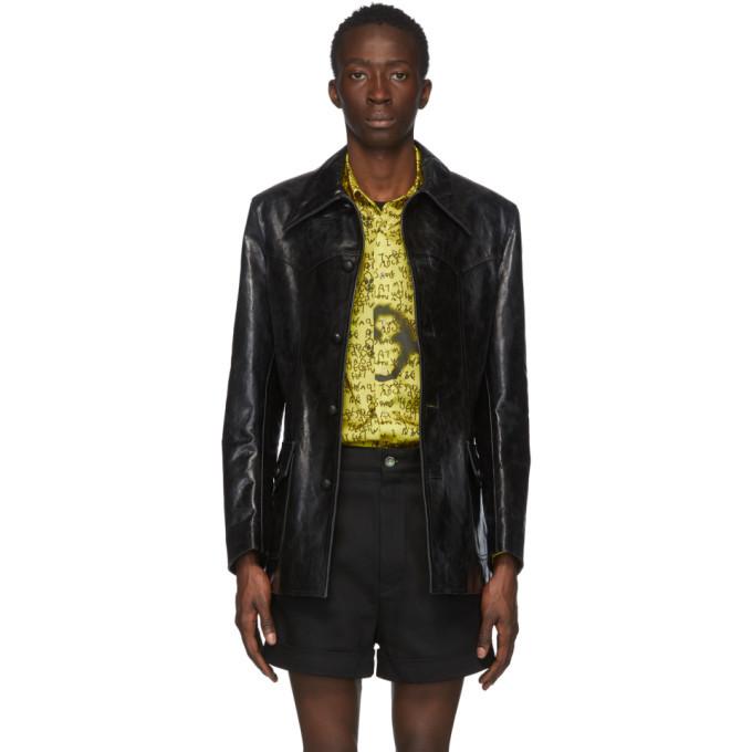 Photo: Sankuanz Black Leather Distressed Jacket