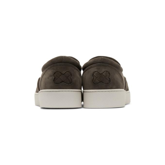 Bottega Veneta Brown Suede Intrecciato Dodger Slip-On Sneakers