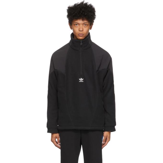 Photo: adidas Originals Black Polar Fleece Big Trefoil Half-Zip Track Jacket