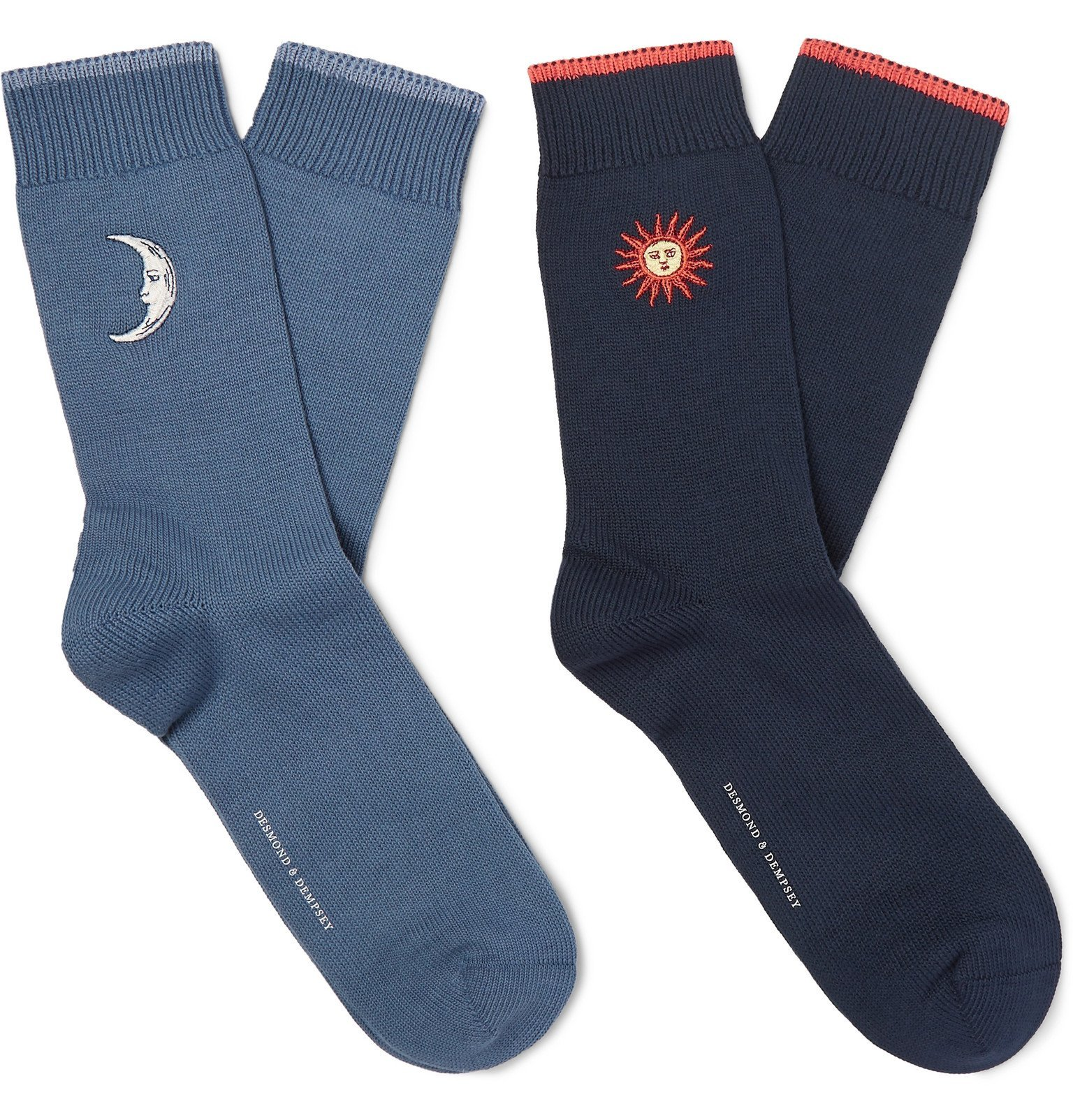 Photo: Desmond & Dempsey - Two-Pack Embroidered Stretch Cotton-Blend Socks - Blue