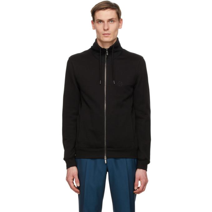 Photo: Giorgio Armani Black Jersey Blouson Zip Sweatshirt