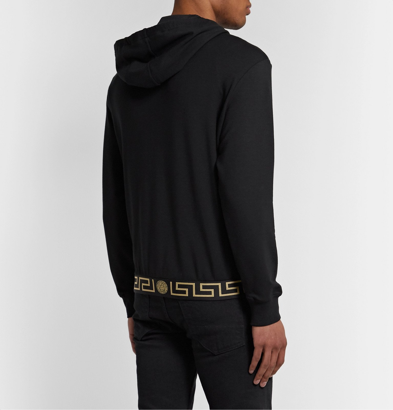 Versace - Logo-Jacquard Stretch-Modal Jersey Zip-Up Hoodie - Black