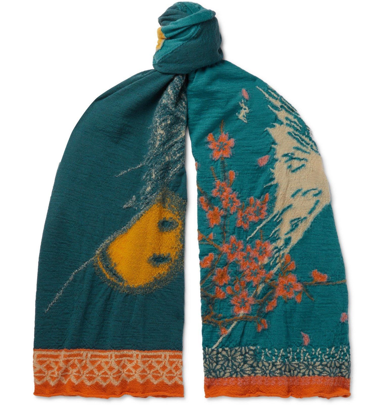 Photo: KAPITAL - Knitted Wool Scarf - Blue
