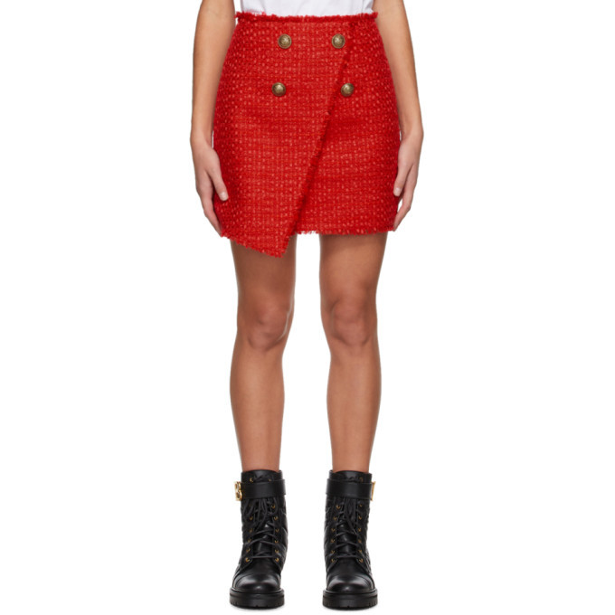 Photo: Balmain Red Tweed Wrap Asymmetric Miniskirt