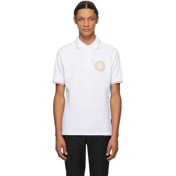 Photo: Versace Jeans Couture White and Gold Logo Polo