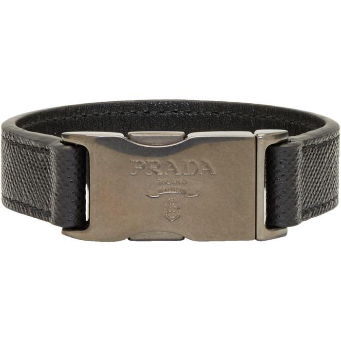 Prada Saffiano buckle bracelet - Black CJKWoE9Caq