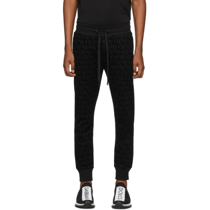 Photo: Dolce and Gabbana Black Flocked Print Jogging Pants