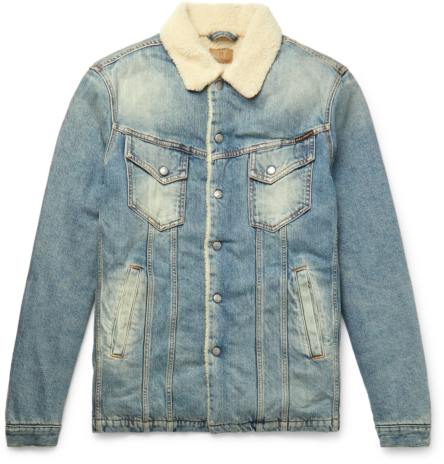 Photo: Nudie Jeans - Lenny Faux Shearling-Lined Organic Denim Trucker Jacket - Blue