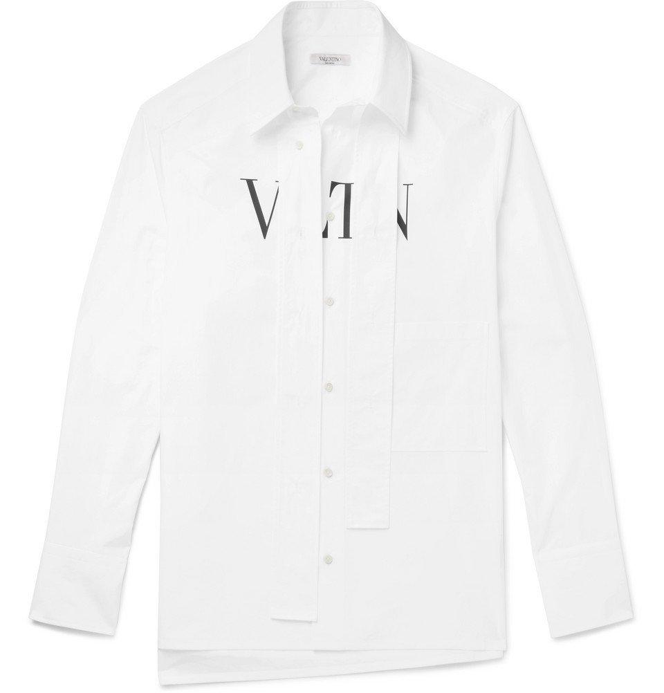 Photo: Valentino - VLTN Strap-Detailed Printed Cotton-Poplin Shirt - White