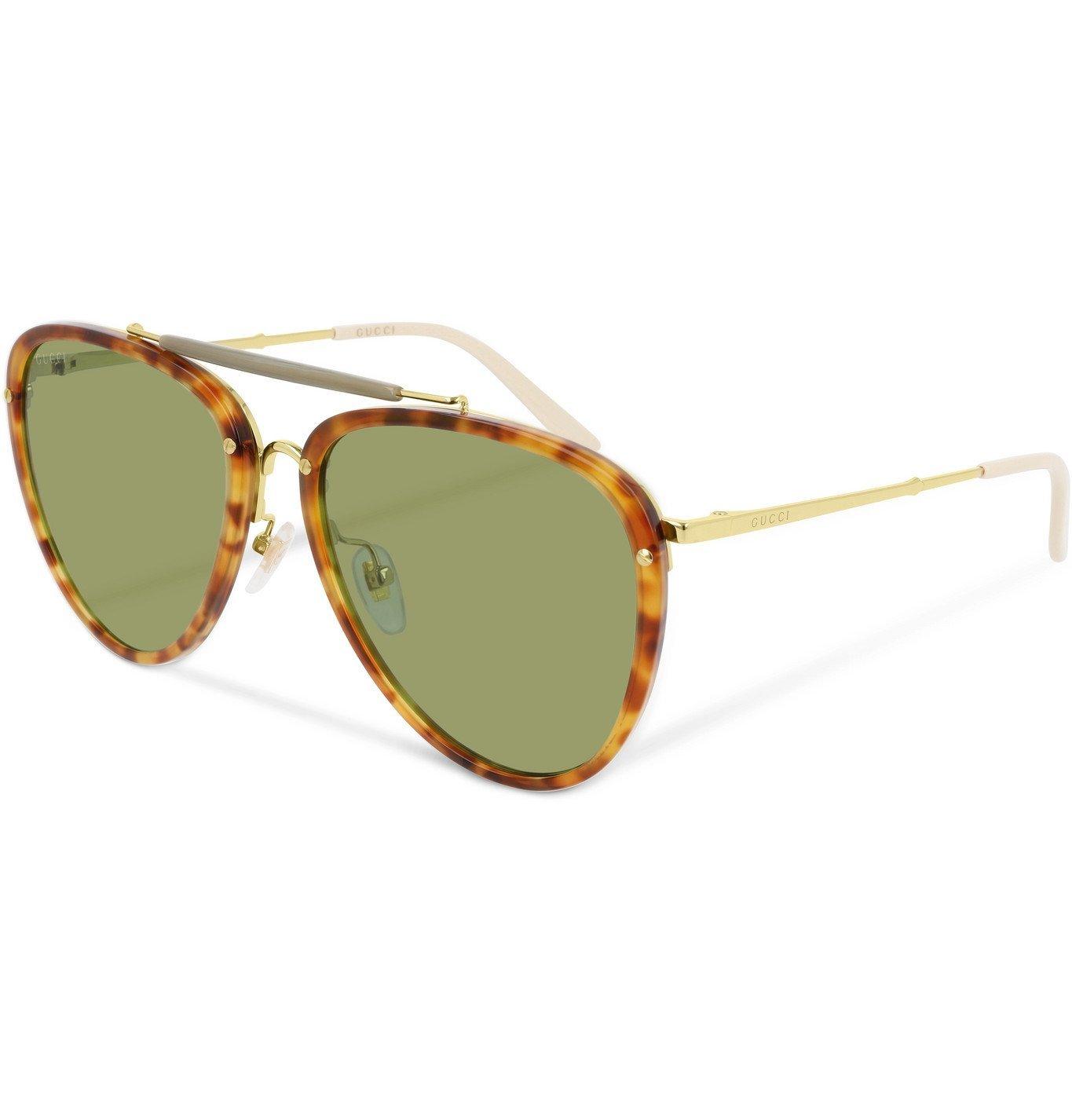 Photo: Gucci - Aviator-Style Tortoiseshell Acetate and Gold-Tone Sunglasses - Tortoiseshell