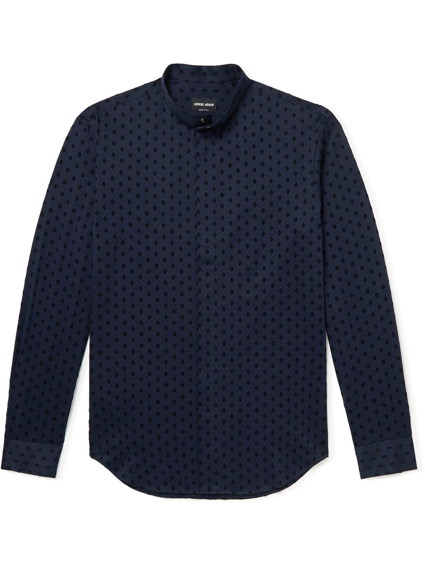GIORGIO ARMANI - Grandad-Collar Flocked Cotton-Sateen Shirt - Blue