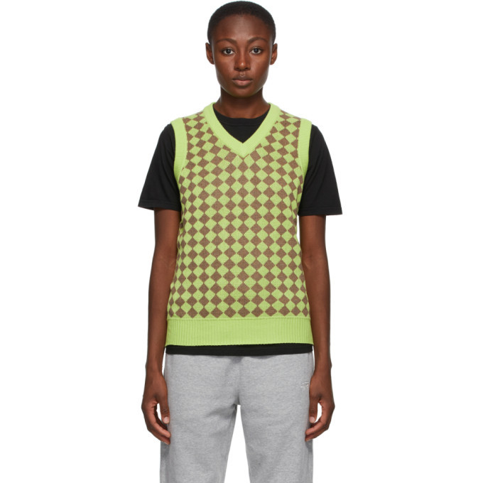 Photo: Stussy Green Melange Checker Sweater Vest