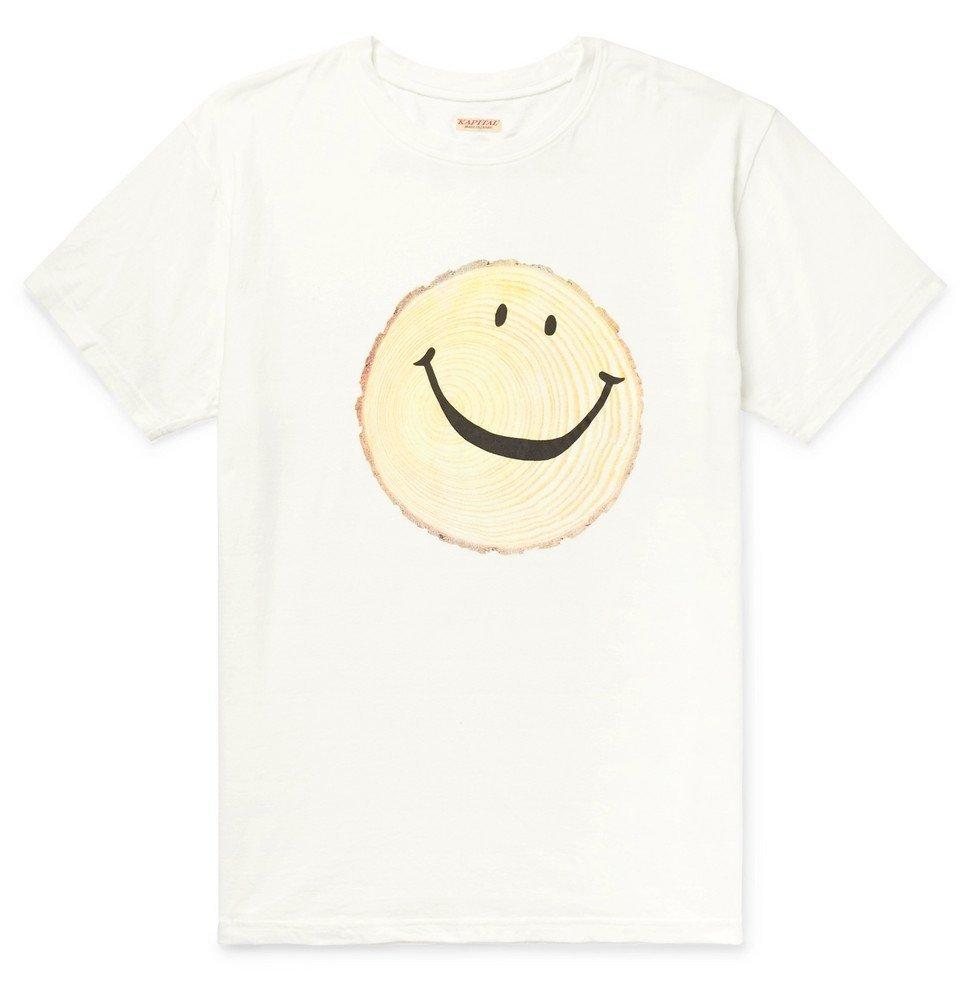 KAPITAL - Printed Cotton-Jersey T-Shirt - White
