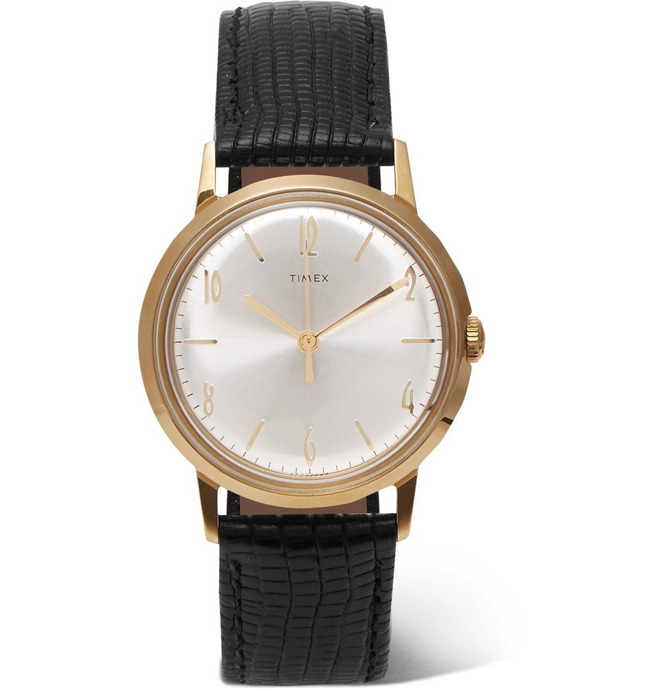 Photo: Timex - Marlin Hand-Wound 34mm Gold-Tone and Textured-Leather Watch - Men - Silver