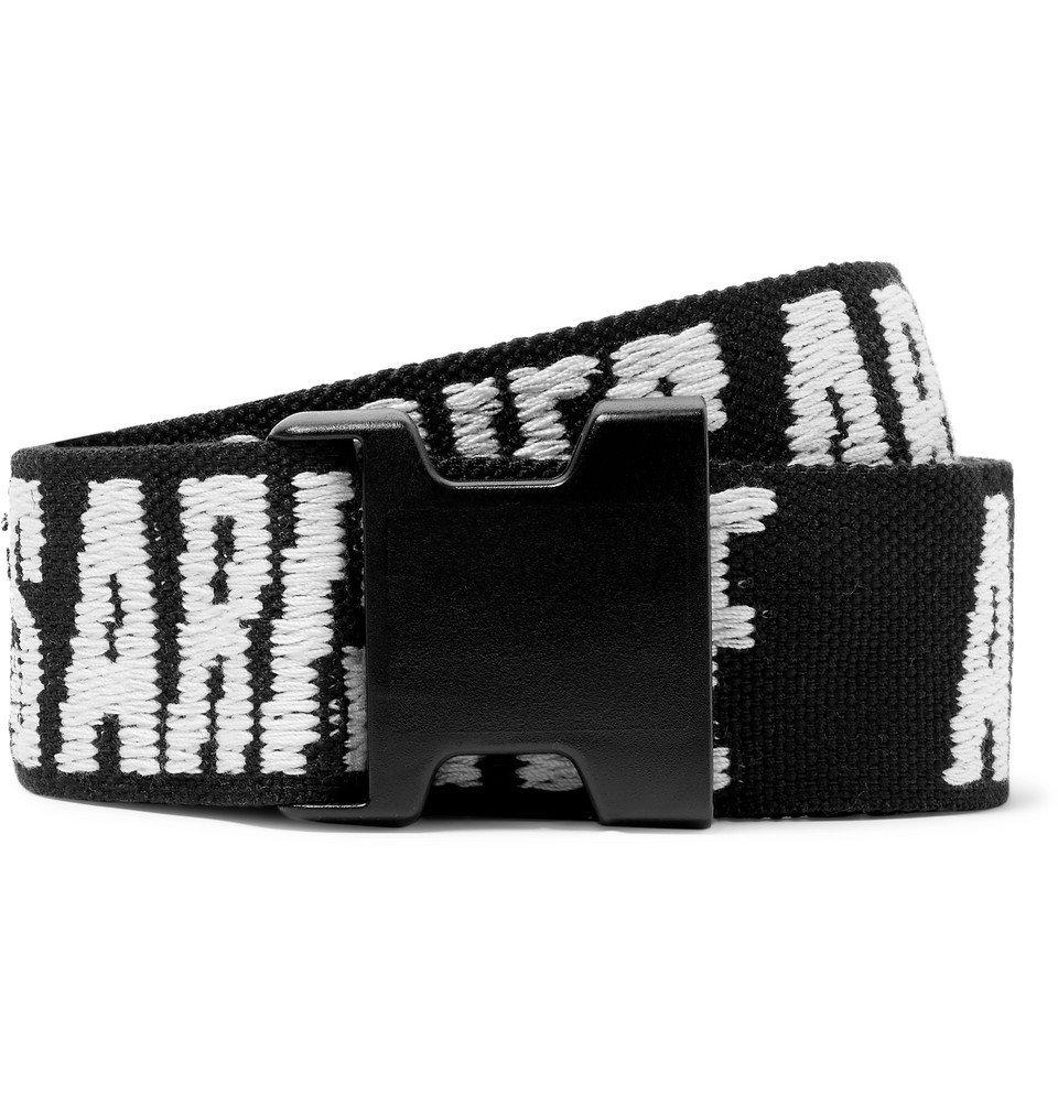 Aries - 4cm Logo-Jacquard Webbing Belt - Black