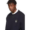 Raf Simons Navy Mohair Fine Open Honey Stitch Sweater