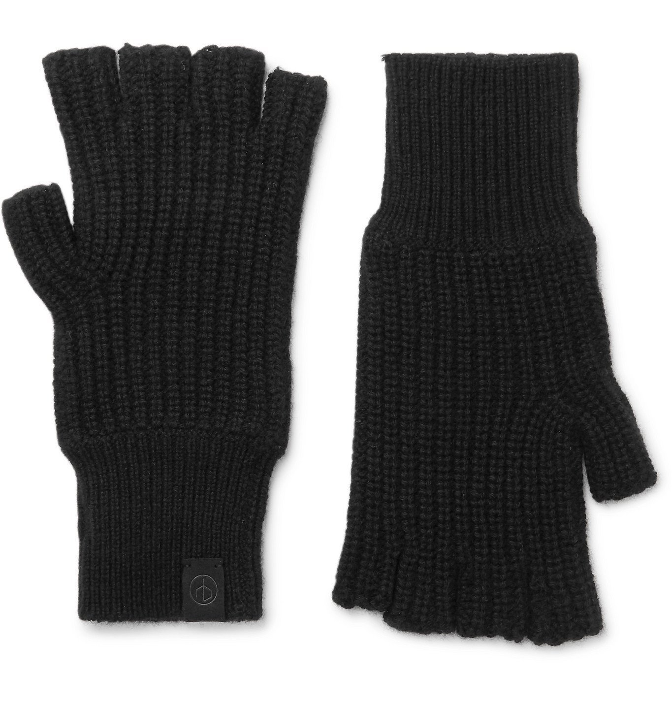Photo: rag & bone - Ace Ribbed Cashmere Fingerless Gloves - Black