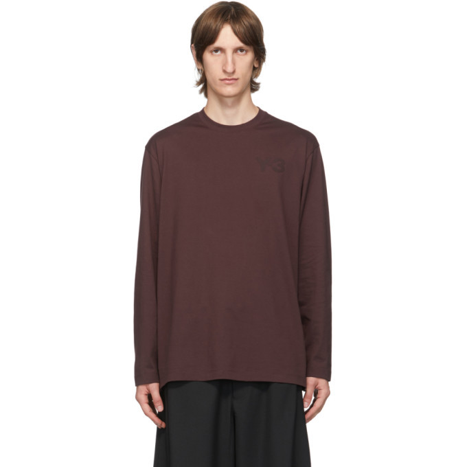 Photo: Y-3 Burgundy Classic Logo Long Sleeve T-Shirt