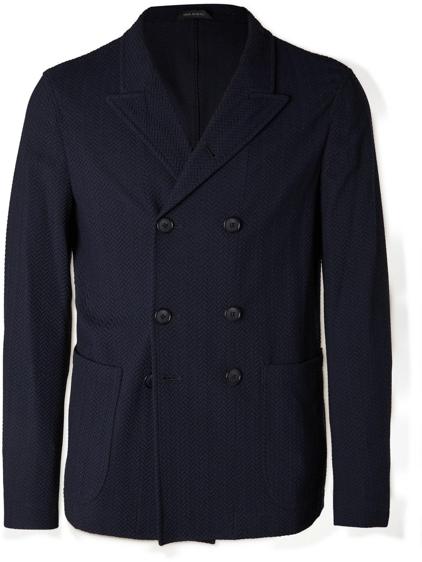 GIORGIO ARMANI - Slim-Fit Double-Breasted Herringbone Woven Blazer - Blue - IT 46