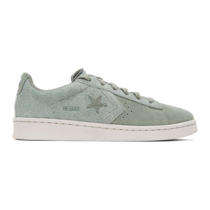 Photo: Converse Green Suede Pro Leather OX Sneakers