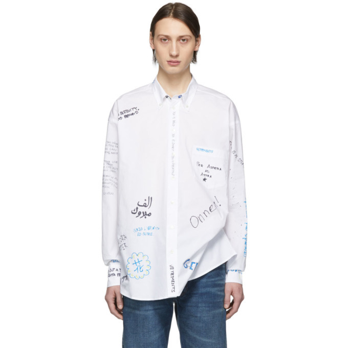 Photo: Vetements White Scribble 2029 Shirt