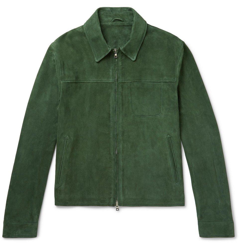 Photo: Mr P. - Slim-Fit Suede Blouson Jacket - Dark green