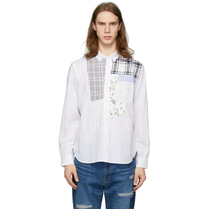 Photo: Junya Watanabe White Chambray Multi-Fabric Shirt