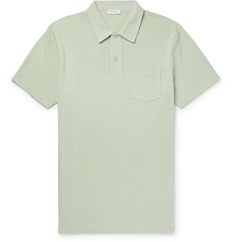 Sunspel - Riviera Slim-Fit Cotton-Mesh Polo Shirt - Green