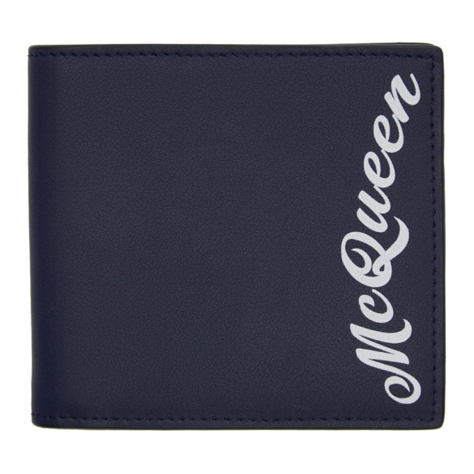 Photo: Alexander McQueen Navy Logo Wallet