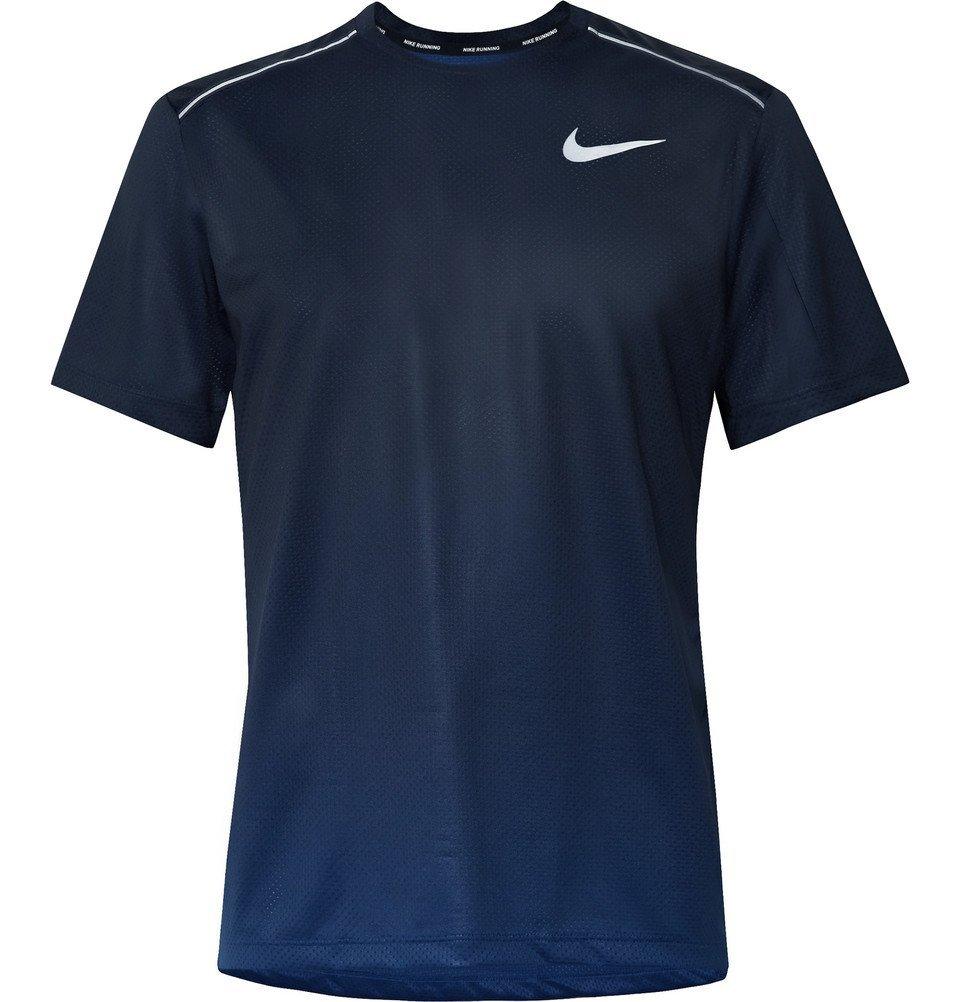 Nike Running - Miler Printed Dri-FIT Mesh T-Shirt - Blue